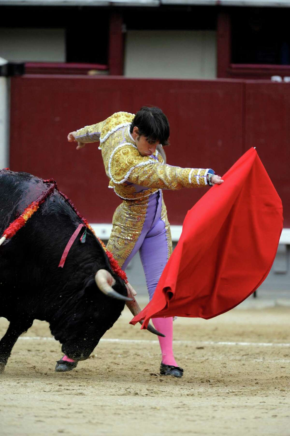 Spanish matador Antonio Nazare is gored by a bull during the San Isidro Fair at Las Ventas bullring on May 20, 2014 in Madrid, Spain. For the first time since 1979, the bullfight was cancelled after the three bullfighters were injured by bulls. (Photo by Europa Press/Europa Press via Getty Images)