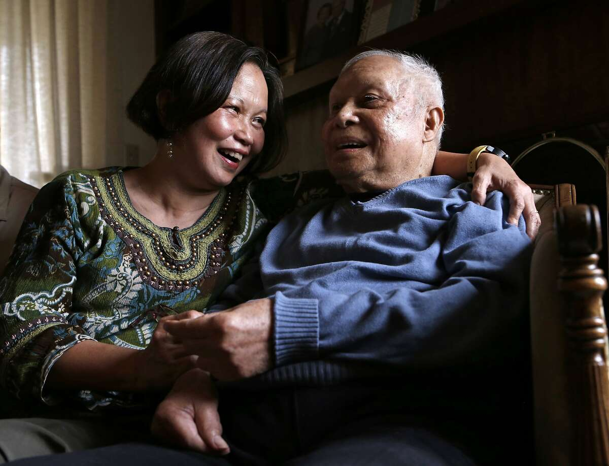Cecelia Gaerlan with her father Luis Gaerlan Jr., a survivor of the Bataan Death March, as seen on Thursday May 22, 2014, in San Francisco, Calif. A talk with survivors of the Bataan Death March of 1942.