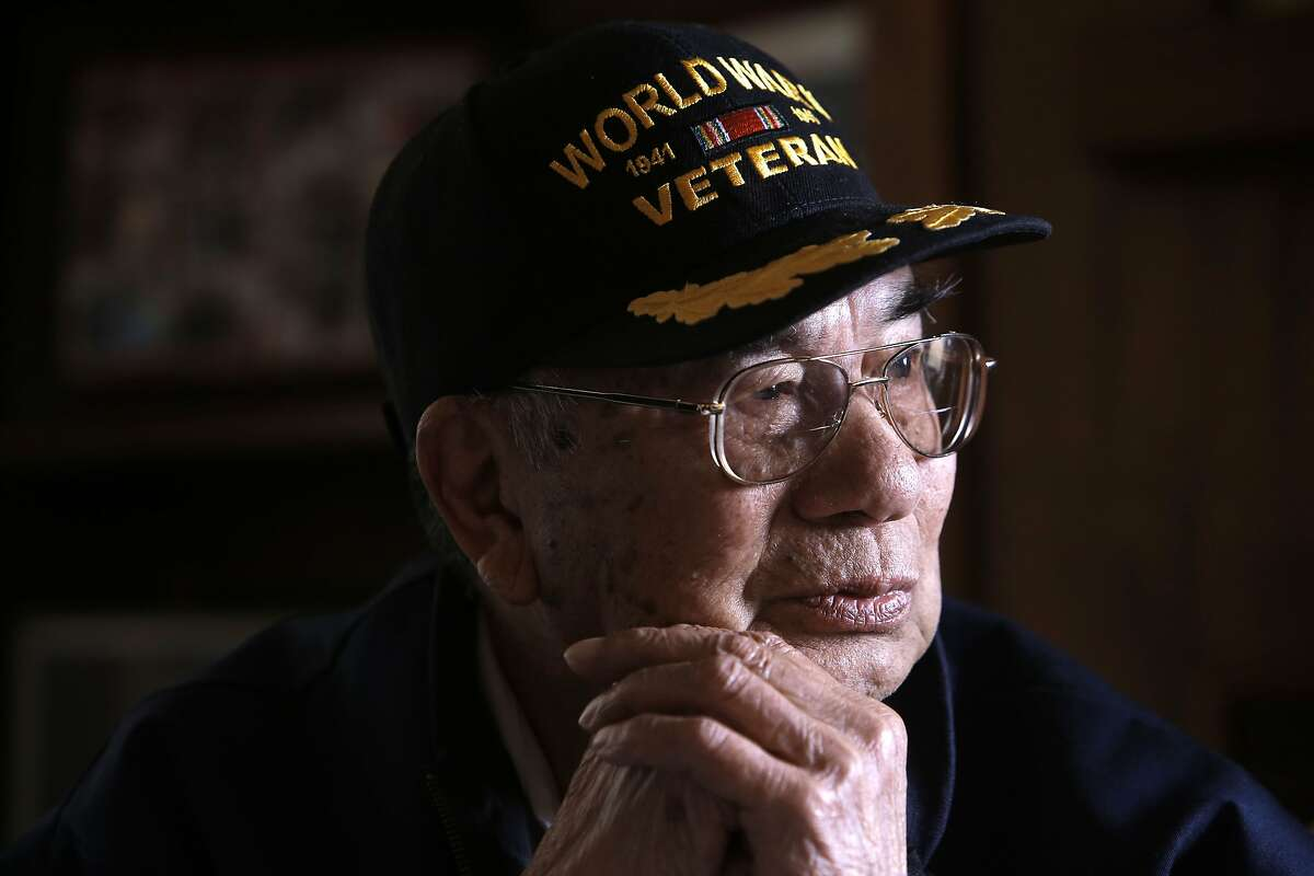 Pedro Pineda, a survivor of the Bataan Death March of 1942, recalls the memories of the march as seen on Thursday May 22, 2014, in San Francisco, Calif. A talk with survivors of the Bataan Death March.