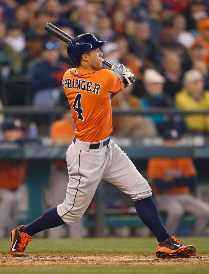 May 25: Astros 4, Mariners 1  George Springer hits a two-run home run. Photo: Otto Greule Jr, Getty Images
