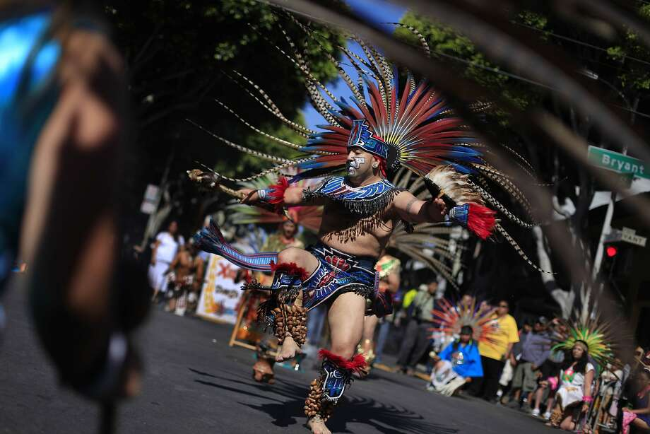 Xiuhcoatl Danza Azteca performs at  the start of the Carnaval parade on Sunday,  May 25, 2014 in San Francisco, Calif. Photo: Lea Suzuki, The Chronicle