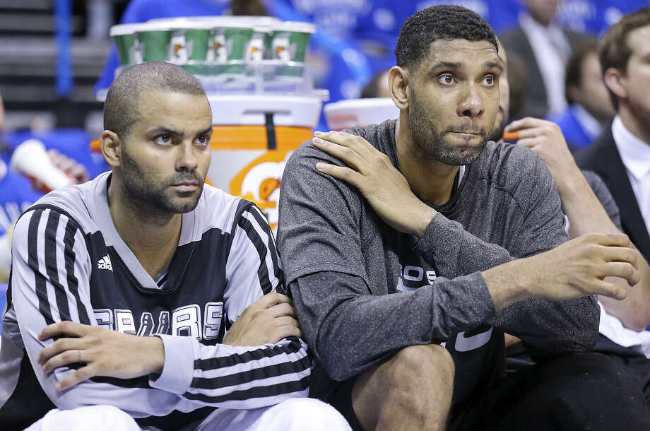 The Spurs' Tony Parker (left) and Tim Duncan, who totaled only 25 points Sunday, will have to regroup ahead of Game 4. Photo: Edward A. Ornelas / San Antonio Express-News / © 2014 San Antonio Express-News