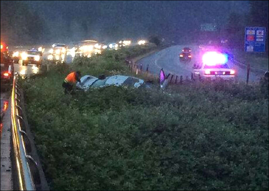 The car wound up in the median of I-90 next to Issaquah Creek after the crash. Photo: KOMO TV