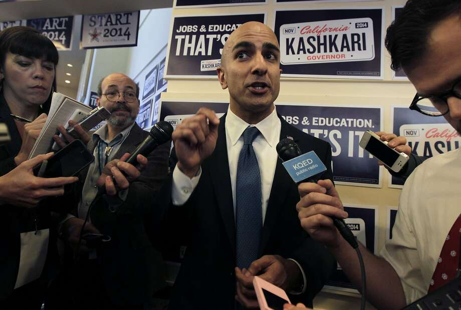 Neel Kashkari, shown meeting with reporters in March, has spent $2 million of his own money on his campaign for governor, but he trails his Republican rival in the polls. Photo: Paul Chinn, The Chronicle