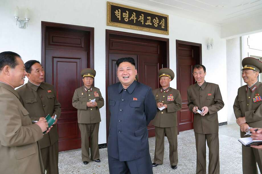 Good one, sir! When Kim Jong-Un makes a joke, all his generals laugh heartily. The North Korean leader was inspecting the 