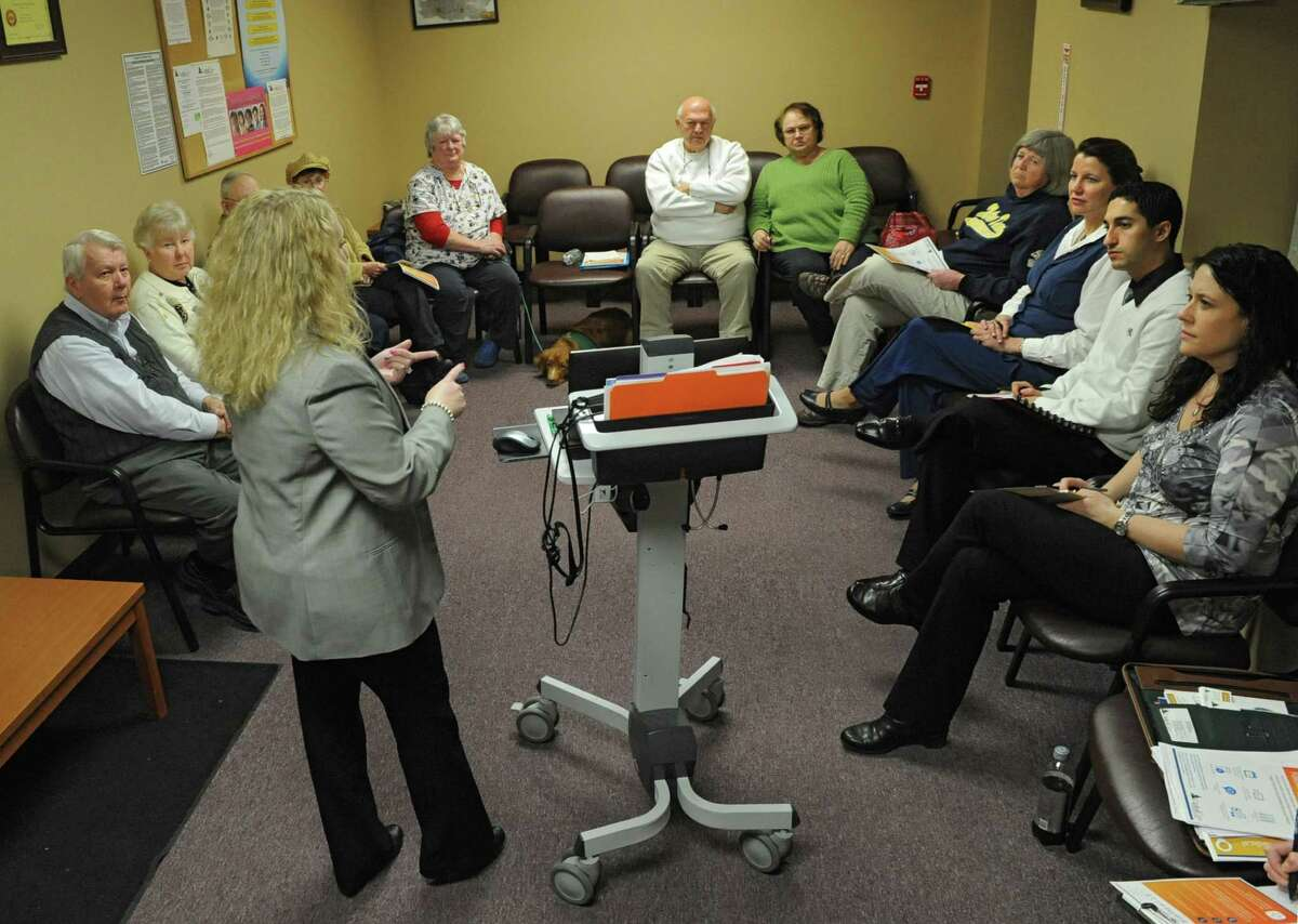 Alicia Sikora, director of marketing and communications for CapitalCare Medical Group, speaks to clients about the FollowMyHealth universal health record portal during a meeting with a patient advisory group that makes recommendations to the medical practice at CapitalCare Medical Group on Monday, Feb. 24, 2014 in Averill Park, N.Y. (Lori Van Buren / Times Union)