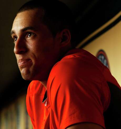 Houston Astros George Springer, who has overcome a childhood stutter, photographed in the Astros dugout, Tuesday, May 13, 2014, in Houston. ( Karen Warren / Houston Chronicle  ) Photo: Karen Warren, Staff / © 2014 Houston Chronicle