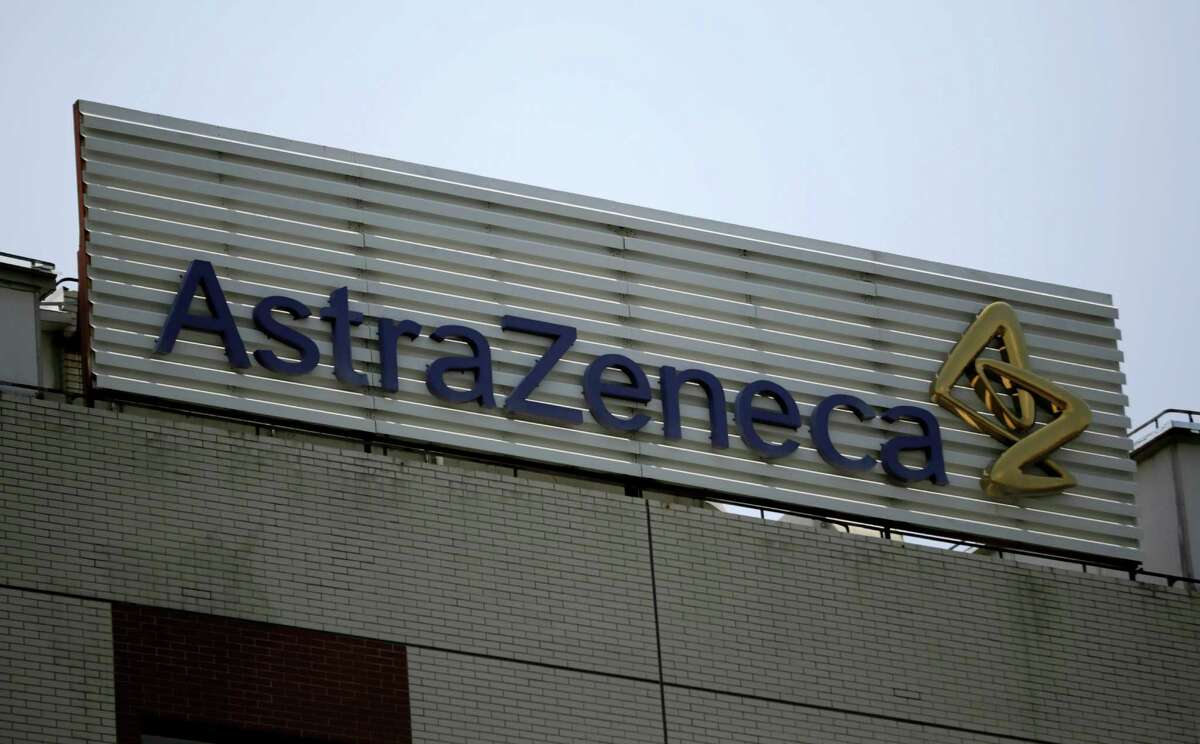 FILE - This July 24, 2013 file photo shows the AstraZeneca logo on the company's building in Shanghai, China. Pfizer says it does not intend to make a takeover offer for British drugmaker AstraZeneca. The Monday, May 26, 2014 announcement comes a week after AstraZeneca's board rejected a proposed $119 billion buyout offer from Pfizer, the world's second-biggest drugmaker by revenue. (AP Photo/Eugene Hoshiko, File)
