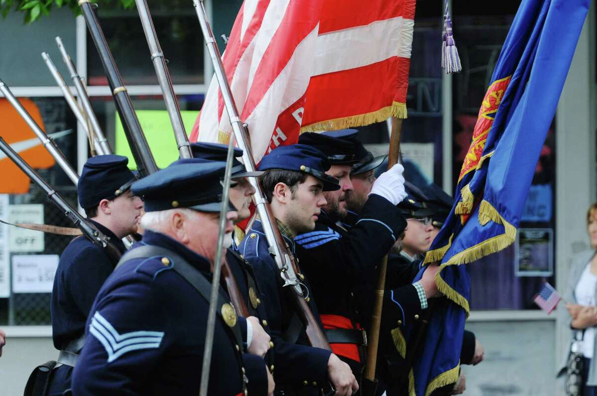 Civil War re-enactors march down Central Ave. in the Albany Memorial Day Parade on Monday, May 26, 2014, in Albany, N.Y. (Paul Buckowski / Times Union)