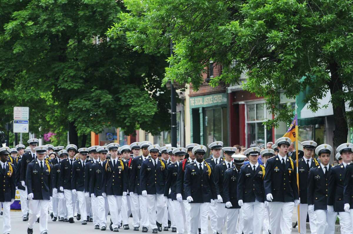 Christian Brothers Academy students march down Central Ave. as they take part in the Albany Memorial Day Parade on Monday, May 26, 2014, in Albany, N.Y. (Paul Buckowski / Times Union)