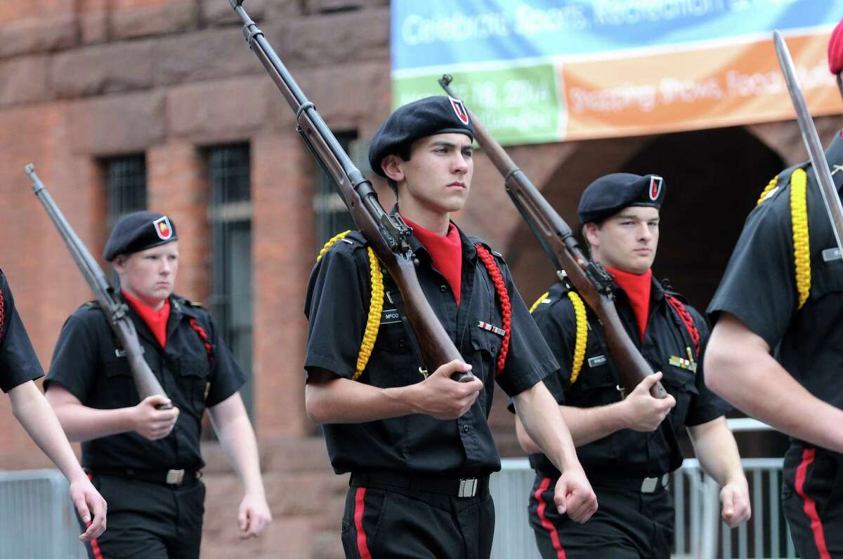 Students in the Albany Academiesa€™ Cadet Corps march down Central Ave. in the Albany Memorial Day Parade on Monday, May 26, 2014, in Albany, N.Y. (Paul Buckowski / Times Union)
