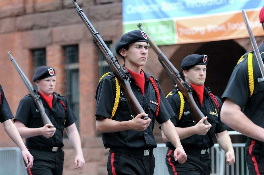 Students in the Albany Academiesa€™ Cadet Corps march  down Central Ave. in the Albany Memorial Day Parade on Monday, May 26, 2014, in Albany, N.Y.  (Paul Buckowski / Times Union) Photo: Paul Buckowski / 00027024A
