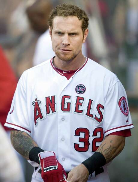 The Los Angeles Angels' Josh Hamilton in the dugout during action against the St. Louis Cardinals at Angel Stadium of Anaheim on Wednesday, July 3, 2013, in Anaheim, California. (Kevin Sullivan/Orange County Register/MCT) Photo: KEVIN SULLIVAN, MBR / Orange County Register