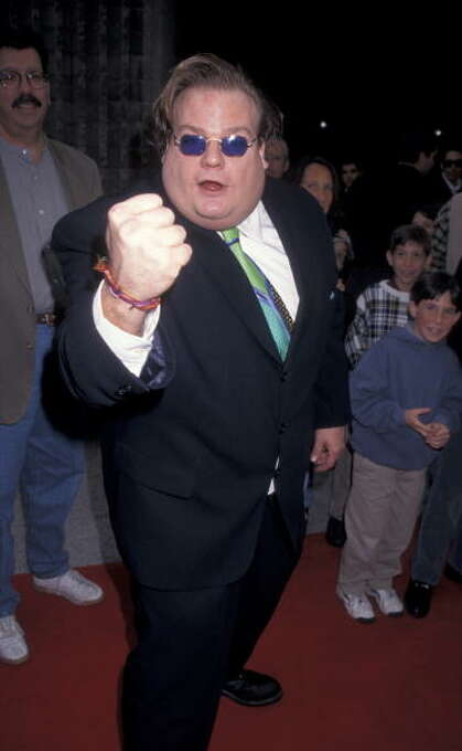 """Chris Farley at the January 11, 1997 premiere of BEVERLY HILLS NINJA.  He looked awful and was dead within the year, but wow, what unrestrained comic energy.  """"Ninja"""" was Farley at his best. Photo: Ron Galella,  Ltd., WireImage / 1997 Ron Galella, Ltd."""