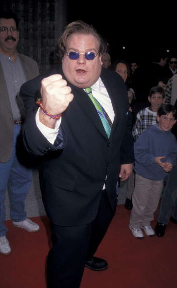"Chris Farley at the January 11, 1997 premiere of BEVERLY HILLS NINJA.  He looked awful and was dead within the year, but wow, what unrestrained comic energy.  ""Ninja"" was Farley at his best. Photo: Ron Galella,  Ltd., WireImage / 1997 Ron Galella, Ltd."