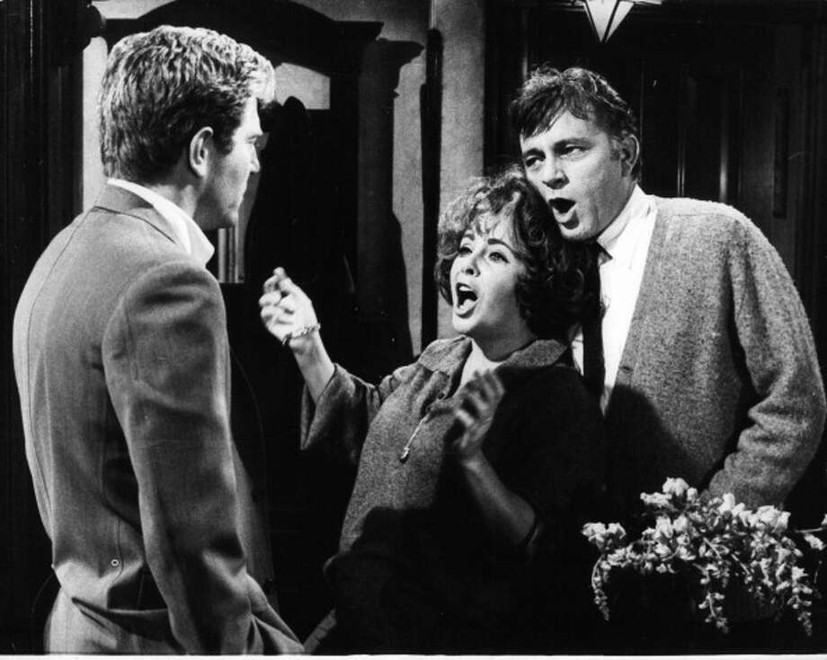 "Richard Burton, with George Segal and Elizabeth Taylor in Burton's greatest film 'Who's Afraid Of Virginia Woolf?'  1966.  See this movie and just try not to say ""Bergen"" over and over the next day. Photo: Michael Ochs Archives, Getty Images / 2012 Getty Images"