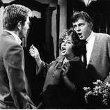 "Richard Burton, with George Segal and Elizabeth Taylor in Burton's greatest film 'Who's Afraid Of Virginia Woolf?'  1966.  See this movie and just try not to say ""Bergen"" over and over the next day."
