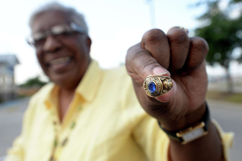 Cora Mallett holds out her class ring from the Charlton Pollard High School class of 1964. Photo taken Thursday, May 22, 2014 Guiseppe Barranco/@spotnewsshooter Photo: Guiseppe Barranco, Photo Editor