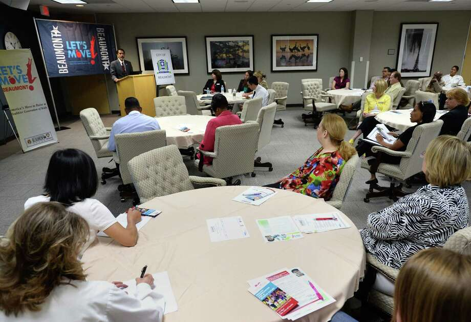 Angela Benoit an area registered nurse listens in on a meeting to bring more awareness to childhood obesity in Southeast Texas. Photo taken Tuesday, May 20, 2014  Guiseppe Barranco/@spotnewsshooter Photo: Guiseppe Barranco, Photo Editor