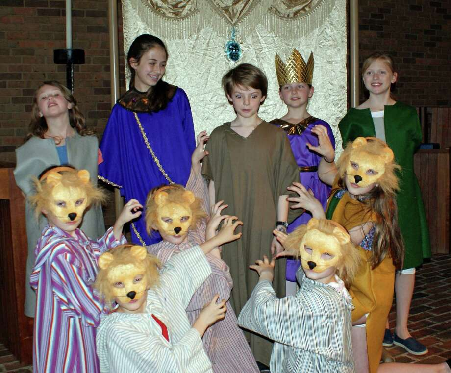 "The Presbyterian Choir School of New Canaan's Children's Musical Theatre will present ""Rescue in the Night,"" the story of Daniel in the Lion's Den, Sunday, June 1. Cast members are, from left, back row, Lucy Hampel, Julia Sulkowski, Nicolas Woods, Ellie Parkhill and Ellie Hanson; front row, Andy Dooley, Toby Woods, Niki Sulkowski, Avery Laird and Vivi Reeves. Photo: Contributed Photo, Contributed / New Canaan News Contributed"