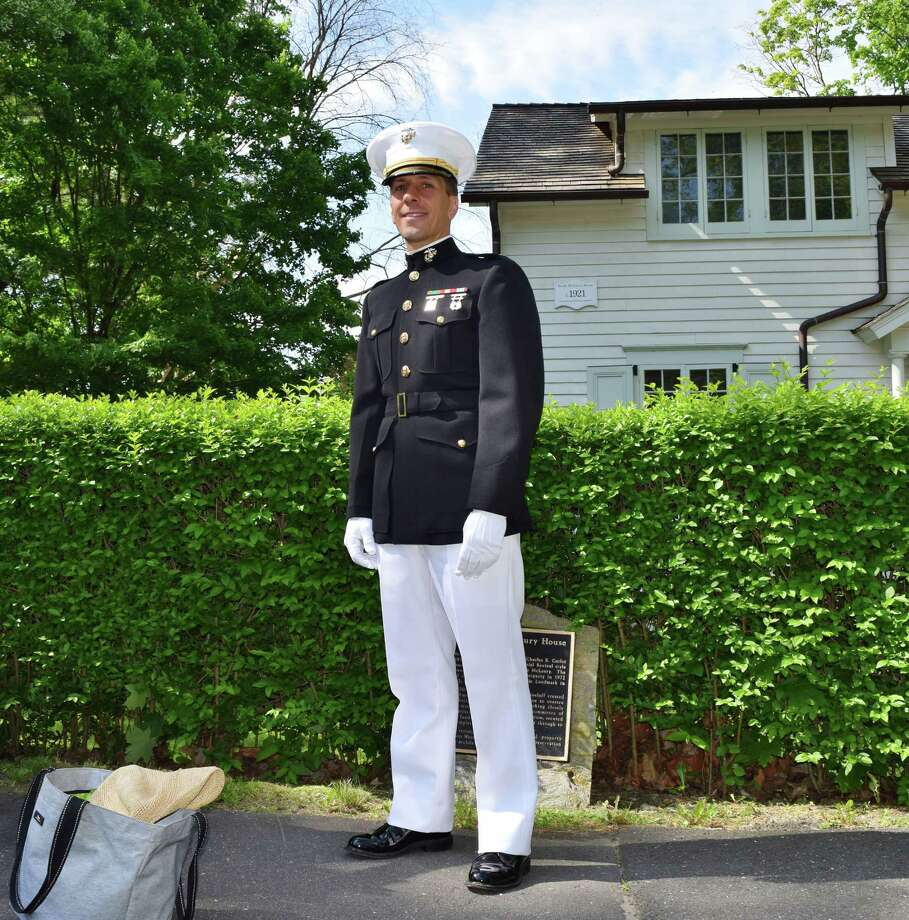 L. J. Kolek of Westport was one of hundreds of people who gathered to remember fallen soldiers at Westport's annual Memorial Day Parade on Monday, May 26. The procession started on Riverside Avenue, moved over the Post Road bridge and on to Town Hall on Myrtle Avenue. Photo: Todd Tracy, Scott Gargan / Stamford Advocate