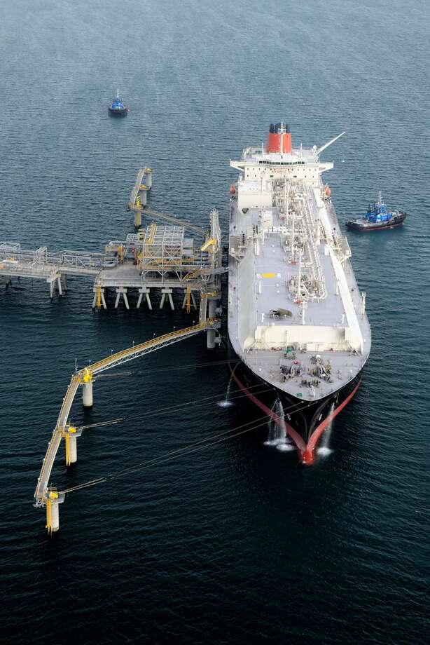This picture taken on May 13, 2014 and released by Exxon Mobil PNG Limited on May 26, 2014 shows the first shipment of liquefied natural gas ready to leave for Japan at Port Moresby. The first shipment of liquefied natural gas from a landmark 19 billion USD project in Papua New Guinea has left for Japan, US oil giant ExxonMobil said on May 26. Photo: RICHARD DELLMAN, AFP/Getty Images