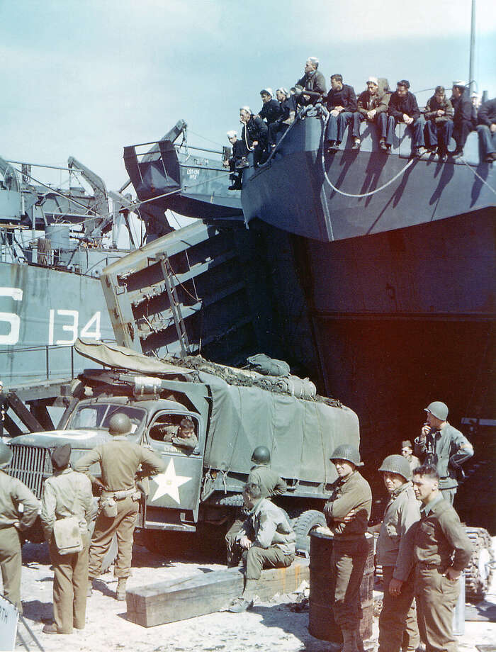 Operation Overlord Normandy, A truck of the 1st Infantry Division of the United States Army is loaded into the Landing Ship Tank in Southern England. June 1944. The LST forms part of Group 30 of the LST Flotilla. The 1st Division was one of the two divisions that stormed Omaha Beach in Normandy, France on D-Day suffering high casualties. Dorset, United Kingdom. Photo: Galerie Bilderwelt, Getty Images / 2010 Galerie Bilderwelt