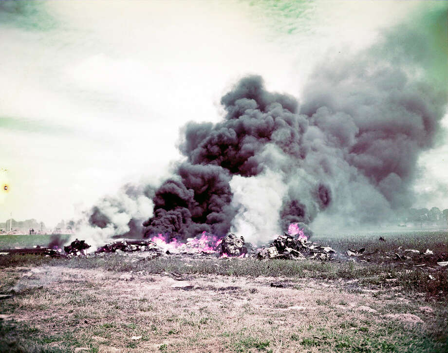 Operation Overlord Normandy, An Allied plane has crashed during the fighting in Normandy. June 1944. Whatever is left is burning. France. Photo: Galerie Bilderwelt, Getty Images / 2010 Galerie Bilderwelt