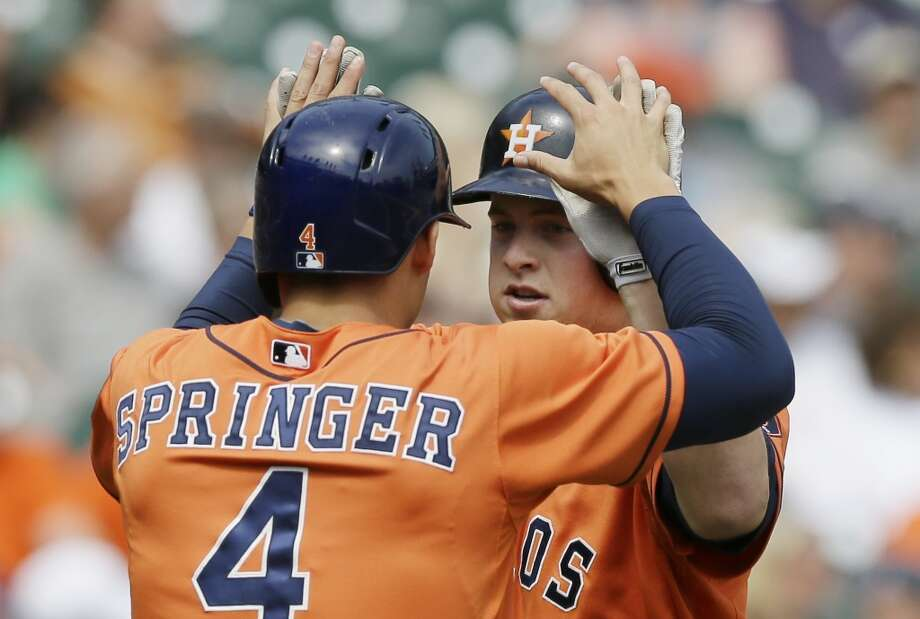 May 8: Astros 6, Tigers 2  Matt Dominguez, right, and George Springer each hit home runs as the Astros avoided the sweep in the Motor City. For Springer, the longball was the first of his career.  Record: 11-24. Photo: Carlos Osorio, Associated Press
