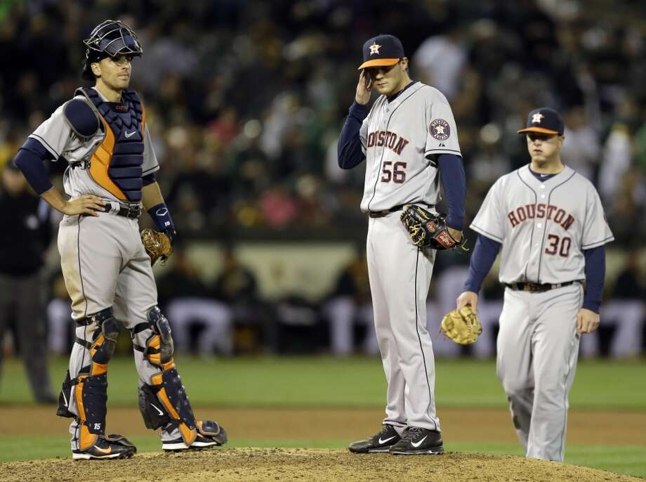 April 18: Athletics 11, Astros 3  The Astros' losing streak hit five as the A's torched Jarred Cosart for seven runs in the first inning.  Record: 5-12. Photo: Ben Margot, Associated Press