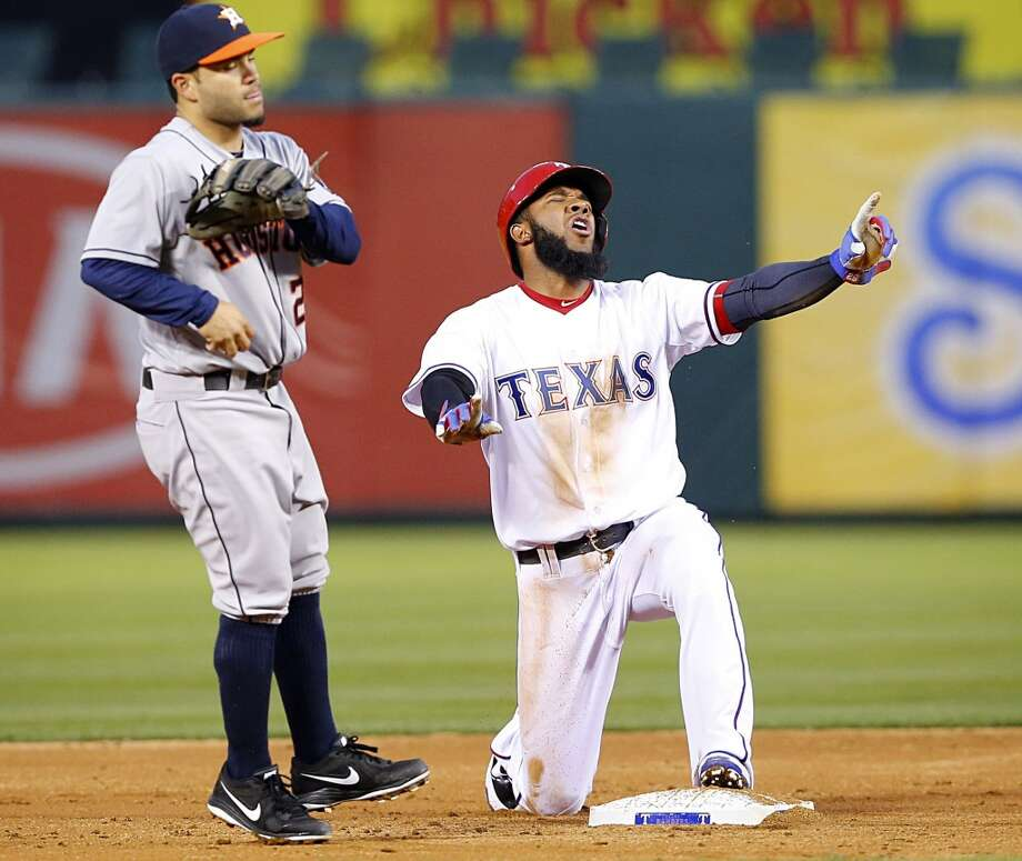 April 11: Rangers 1, Astros 0 (12)  The Rangers outlasted the Astros in the first leg of the inter-state series.   Record: 4-7. Photo: Tom Fox, McClatchy-Tribune News Service