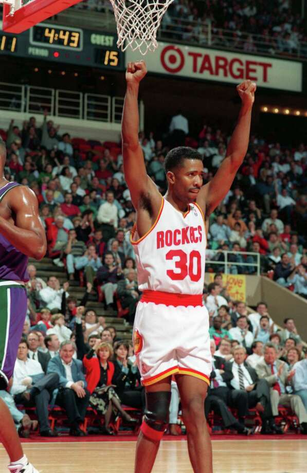 30 - Kenny SmithSmith was the starting point guard on the two Rockets' title teams during his six years in town. He averaged 11 points and four assists during the title years. He was best known for his Game 1 performance in the 1995 Finals, when he made seven 3-pointers. He finished in the top 10 in 3-point percentage in three straight seasons. Photo: Dave Einsel, Houston Chronicle / Houston Chronicle