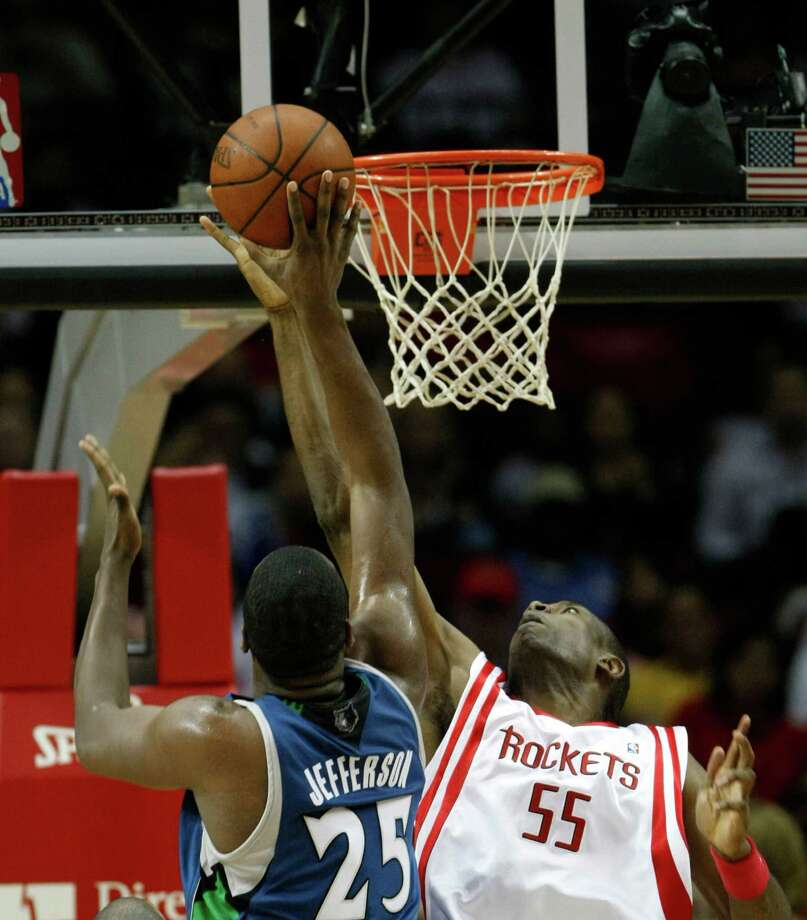 55 - Dikembe Mutombo The eight-time All-Star and defensive dynamo finished his NBA career with four seasons in Houston. He averaged 3.3 points and 5.5 blocks here. He also was a part of the Rockets' memorable 22-game winning streak in 2008. Photo: Nick De La Torre, Houston Chronicle / Houston Chronicle