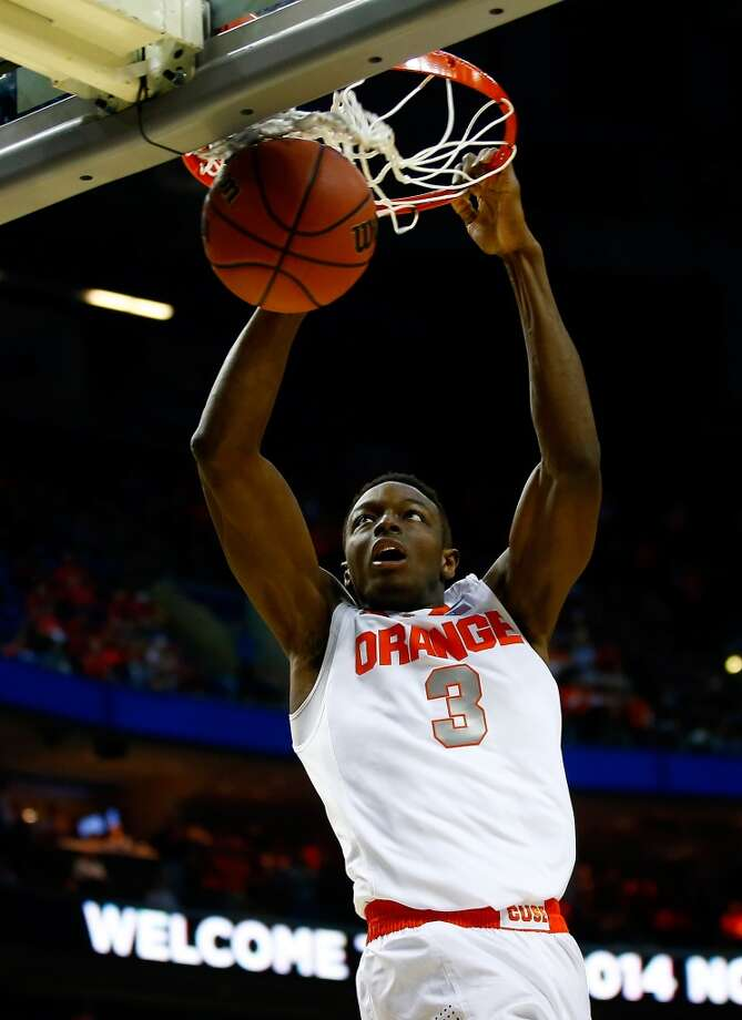 27. Phoenix – Jerami Grant, 6-8, F, Syracuse  If the Suns have not already used their multiple picks to move up a spot or two, they could seek a future selection, with the players that slipped – possibly Grant or Shabazz Napier – an enticement to teams to deal. Grant would offer good athleticism and toughness. Photo: Jared Wickerham, Getty Images