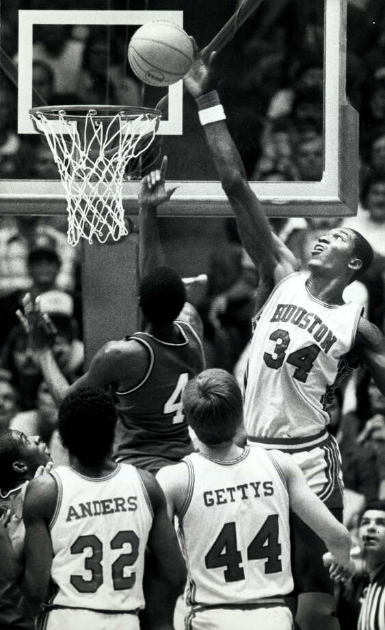 Hakeem was a first-team All-American in 1983-84. Photo: Tim Bullard , Chronicle File