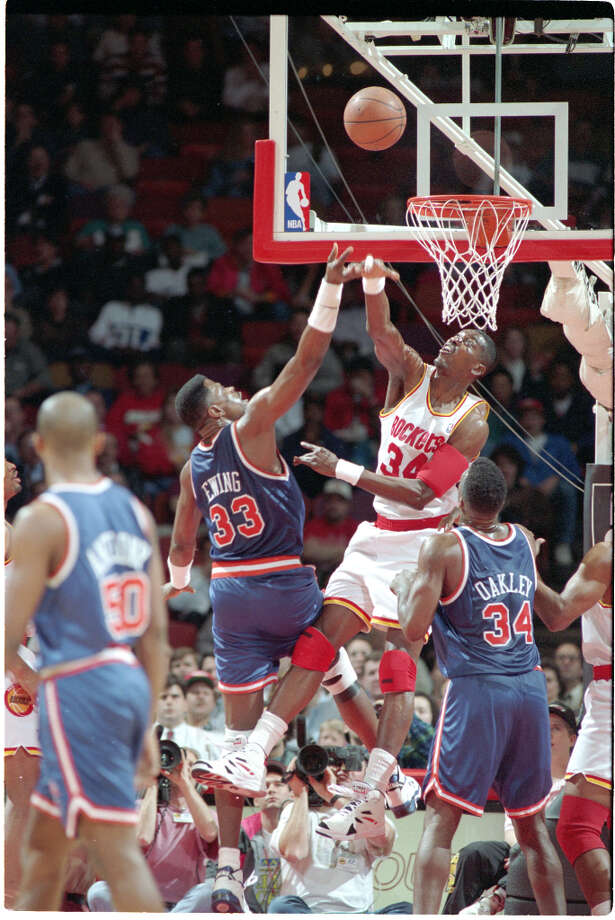 Hakeem won the Defensive Player of the Year Award twice (1992-93, 93-94) and was named to the All-Defensive team nine times. Photo: Chronicle File