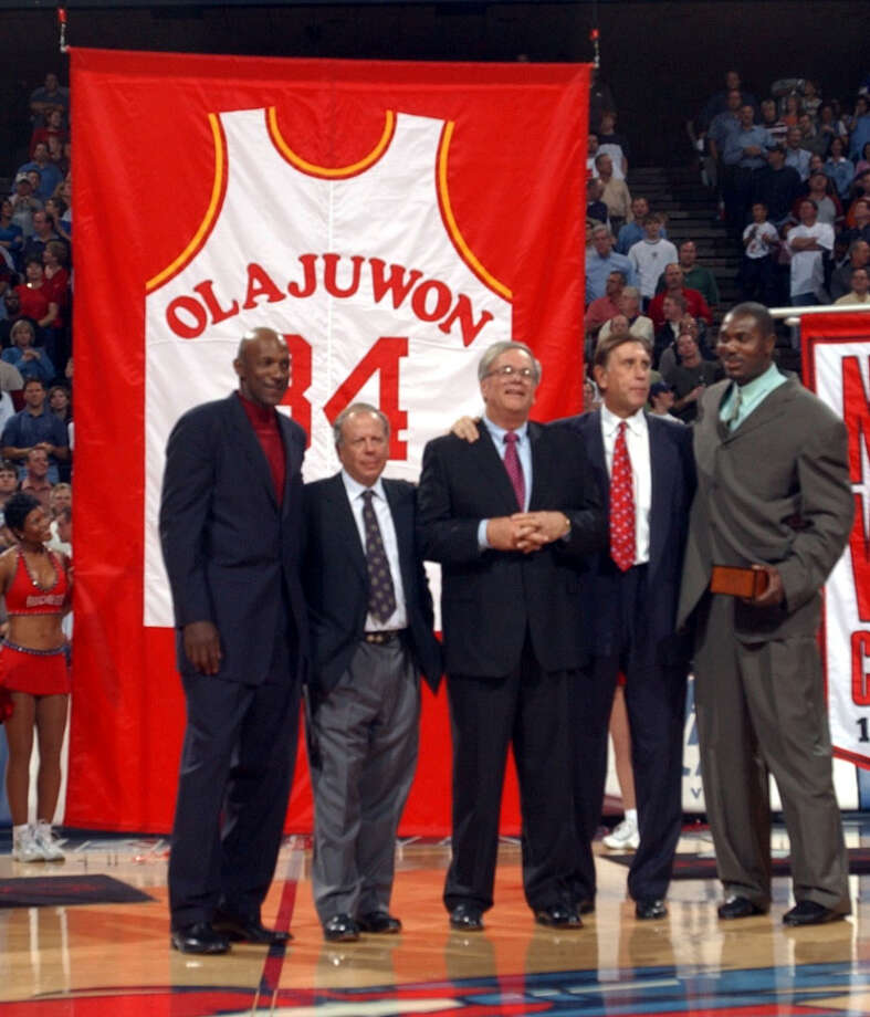 The Rockets retired Hakeem's jersey number in November of 2002. Photo: Chronicle File