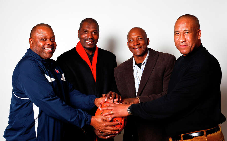 Phi Slama Jama reunited in 2011. Pictured from left to right are Michael Young, Hakeem, Clyde Drexler and  Larry Micheaux. Photo: Michael Paulsen, Chronicle / (C) 2011 Houston Chronicle