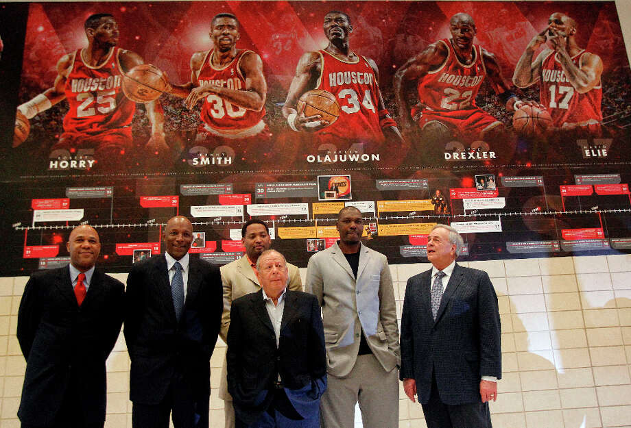 Along with former Rockets teammates (from left) Mario Ellie, Clyde Drexler and Robert Horry, Hakeem was part of the Rockets Team of the 90s. Photo: James Nielsen, Chronicle / © 2012 Houston Chronicle