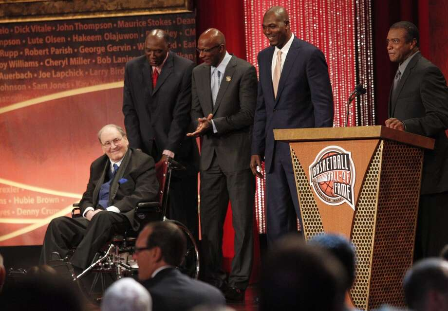 Hakeem was on hand along with Elvin Hayes and Clyde Drexler as legendary UH basketball coach Guy V. Lewis was inducted into the Naismith Memorial Hall of Fame on Sept. 8, 2013 in Springfield, Illinois. Photo: Johnny Hanson, Houston Chronicle