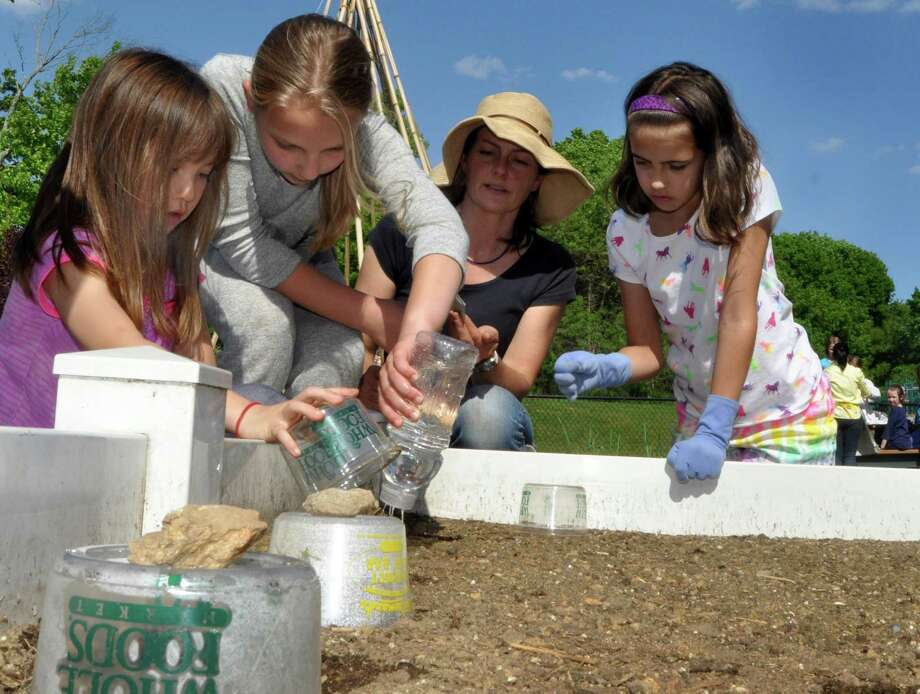 Greens Farms Elementary School students Molly Belknap, 8; Natalie Carozza, 10; Melissa Gryspeerdt and Jane Cheema, 10, water seedlings in the school's kitchen garden. Photo: Nancy Guenther Chapman / Westport News