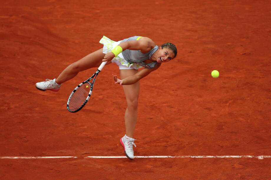 Sara Errani of Italy serves during her women's singles match against Madison Keys of the United States on day three of the French Open at Roland Garros on May 27, 2014 in Paris, France. Photo: Clive Brunskill, Getty Images / 2014 Getty Images
