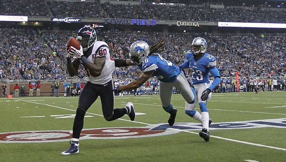 Andre Johnson makes a catch on a long pass during the Texans' Thanksgiving Day win over the Lions on Nov. 22, 2012. Photo: Karen Warren, Houston Chronicle