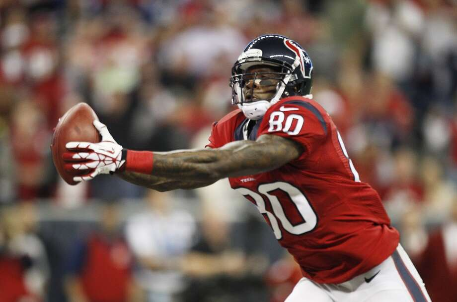 Andre Johnson catches a 41-yard touchdown pass from Case Keenum during their loss to the Colts on Nov. 3, 2013. Photo: Brett Coomer, Houston Chronicle
