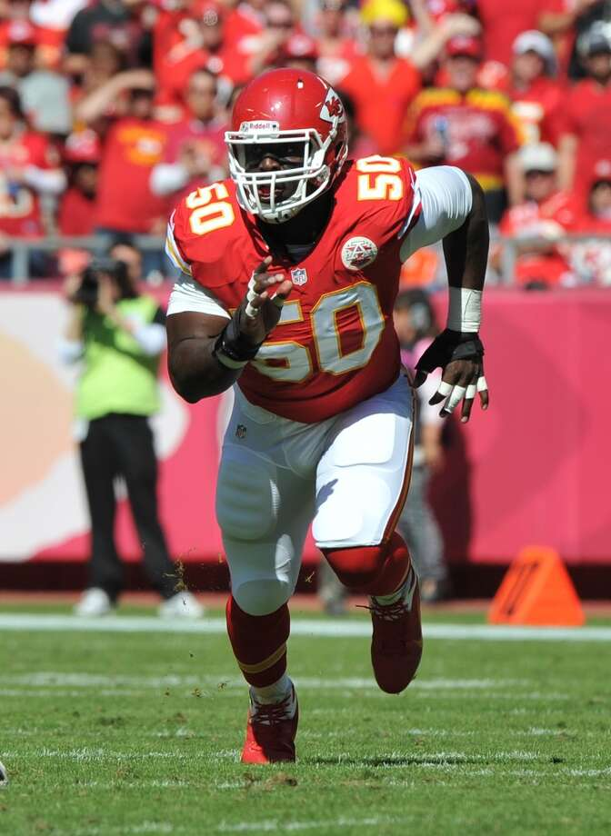 AFC WEST  Chiefs draft class -- Jonathan Baldwin (WR, 1-26); Rodney Hudson (OL, 2-55); Allen Bailey (DL, 3-86); Justin Houston (LB, 3-70); Jalil Brown (DB, 4-118); Gabe Miller (LB, 5-140); Ricky Stanzi (QB, 5-135); Jerrell Powe (DL, 6-199); Shane Bannon (RB, 7-223)  Grade: B-minus  Houston emerged as a premier pass rusher last season. Hudson is a reliable starter. Photo: Peter G. Aiken, Getty Images