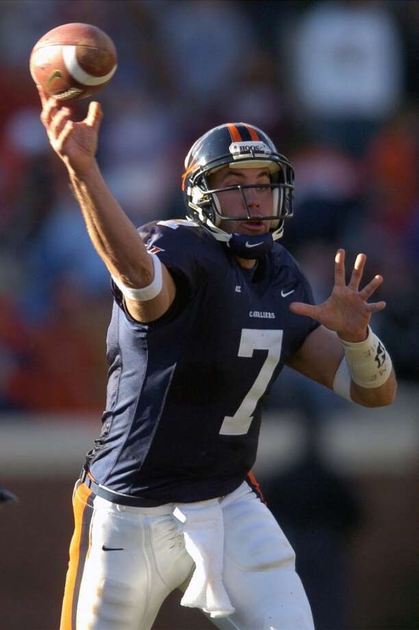 Schaub attended the University of Virginia. In 2002, he was named the ACC Player of the Year as he passed for 2,976 yards with 28 touchdowns and seven interceptions. In his four years with the Cavaliers, Schaub threw for 7,502 yards and 56 TDs (26 ints). Photo: Scott K. Brown, Associated Press
