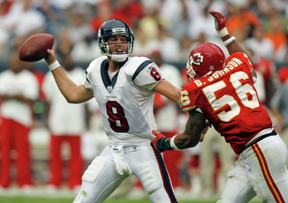Texans quarterback Matt Schaub (8) is pressured by Kansas City Chiefs linebacker Derrick Johnson (56) during the second quarter of an NFL football game Sunday, Sept. 9, 2007, in Houston. Photo: Dave Einsel, AP / AP