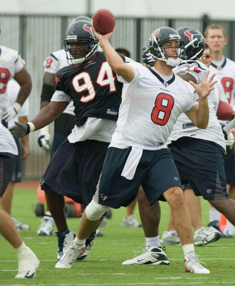 Texans quarterback Matt Schaub (8) makes a throw during Texans training camp Tuesday, Aug. 12, 2008, in Houston. Photo: Brett Coomer, Houston Chronicle / Houston Chronicle