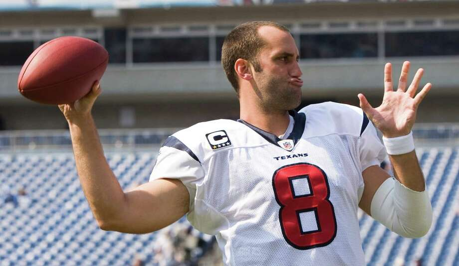 Texans quarterback Matt Schaub warms up before an NFL football game at LP Field against the Tennessee Titans Sunday, Sept. 21, 2008, in Nashville. Photo: Brett Coomer, Houston Chronicle / Houston Chronicle