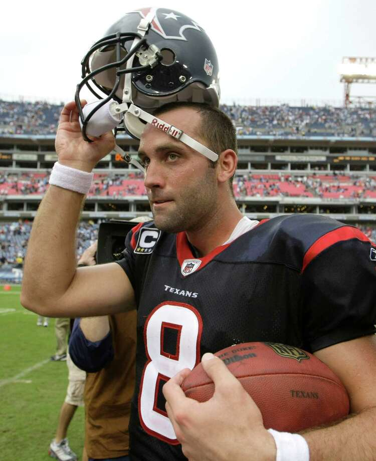 Texans quarterback Matt Schaub carries the game ball as he walks off the field at the end of an NFL football game against the Tennessee Titans at LP Field Sunday, Sept. 20, 2009, in Nashville. The Texans beat the Titans 34-31. Photo: Brett Coomer, Houston Chronicle / Houston Chronicle
